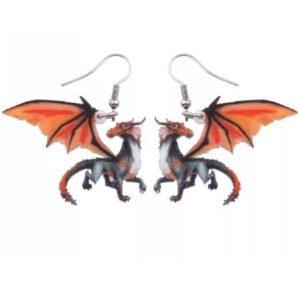 Oorbellen Draak Oranje Rood Voorkant
