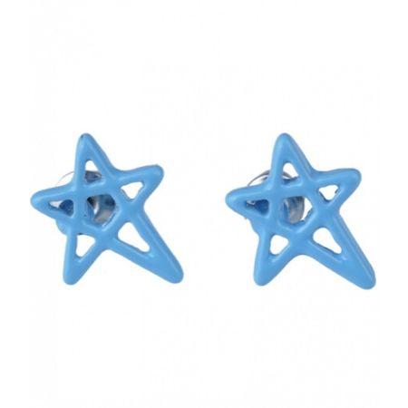Oorbellen Pentagram Ster Licht Blauw