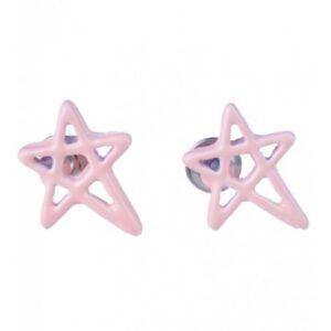 Oorbellen Pentagram Licht Roze