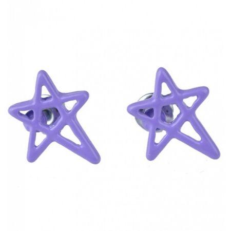 Oorbellen Pentagram Ster Lila Paars