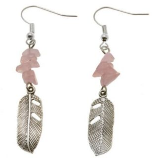 Oorbellen Rose Quarts Feather