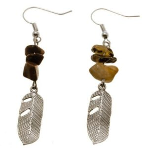 Oorbellen Tiger Eye Feather