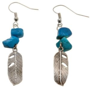 Oorbellen Turquoise Feather