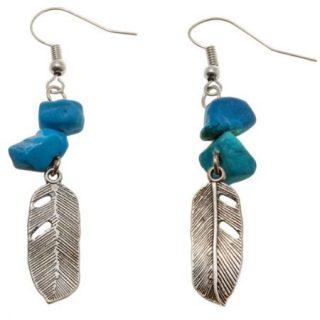 Oorbellen Turquoise Feather