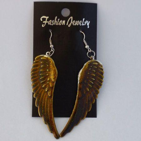 Oorbellen Wings Goud Bruin