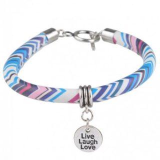 armband live laugh love blauw roze