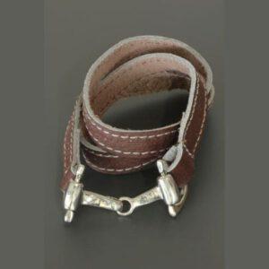 Armband Wikkelarmband Paardenbit Donker Bruin